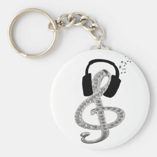 Music Gclef with headset Basic Round Button Keychain