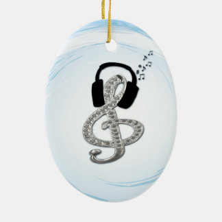 Music Gclef with headset Ceramic Ornament
