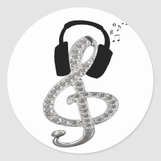 Music Gclef with headset Classic Round Sticker