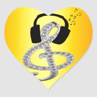 Music Gclef with headset Heart Sticker