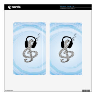 Music Gclef with headset Kindle Fire Skin