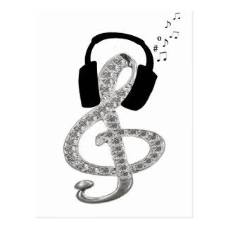 Music Gclef with headset Postcard