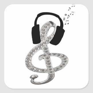 Music Gclef with headset Square Sticker
