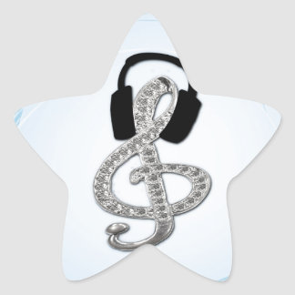 Music Gclef with headset Star Sticker