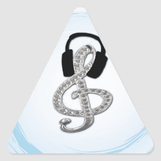Music Gclef with headset Triangle Sticker