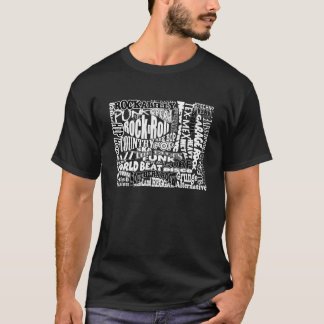 Music Genres on Black T-Shirt
