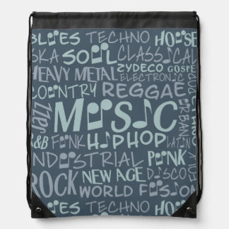 Music Genres Word Collage bag Cinch Bags