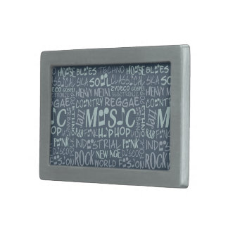 Music Genres Word Collage belt buckle