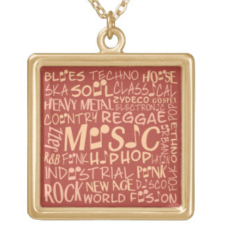 Music Genres Word Collage necklace