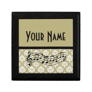 Music Gift Personalized Damask Design Jewelry Box