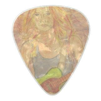 music girl art pearl celluloid guitar pick