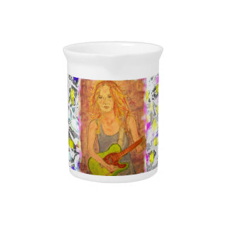 music girl drip painting drink pitcher