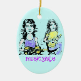 music girls art ceramic ornament