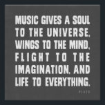 """Music Gives A Soul To The Universe Poster<br><div class=""""desc"""">&quot;Music gives a soul to the universe,  wings to the mind,  flight to the imagination. and life to everything&quot; Plato quote Posters and Prints. Great give for any music lover.</div>"""