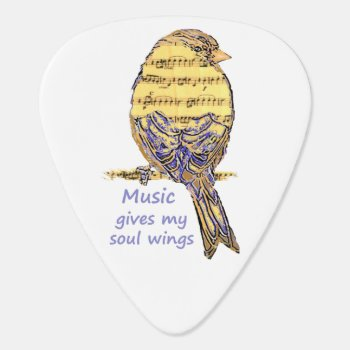 Music Gives My Soul Wings Music Note Bird Inspire Guitar Pick by countrymousestudio at Zazzle
