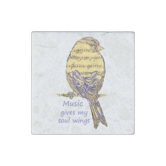 Music Gives my Soul Wings Music Note Bird Inspire Stone Magnet