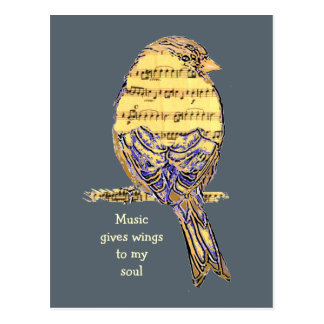 Music gives my soul wings Music Note Bird Postcard