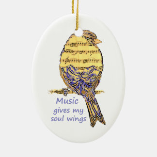 Music Gives my Soul Wings Quote & Bird Art Ceramic Ornament