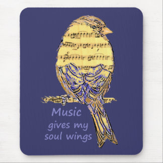 Music Gives my Soul Wings Quote & Bird Art Mousepads
