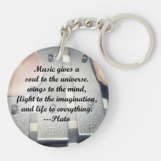 Music gives soul bells rose design Double-Sided round acrylic keychain