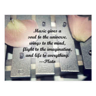 Music gives soul bells rose design postcard