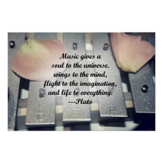 Music gives soul bells rose design poster