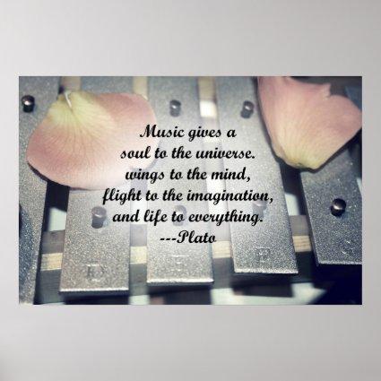 Music gives soul bells rose design posters