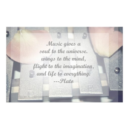 Music gives soul bells rose design custom stationery