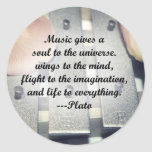 Music gives soul bells rose design classic round sticker