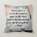 Music gives soul bells rose design throw pillow