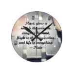 Music gives soul bells rose design wall clocks