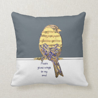 Music gives wings to my soul Music Note Bird Quote Throw Pillow