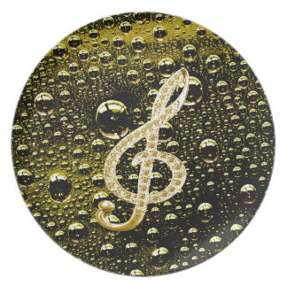 Music Glef Symbols with rain drop background Dinner Plate