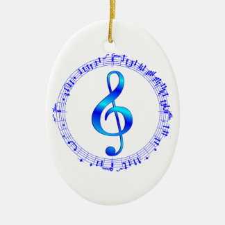 Music Goes Round Double-Sided Oval Ceramic Christmas Ornament