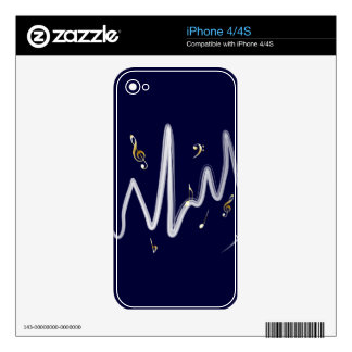 Music (gold and white 1) decals for iPhone 4