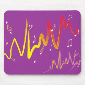 Music (gold, yellow, red 1) mouse pad