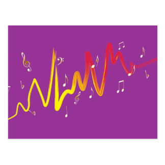 Music (gold, yellow, red 1) postcard