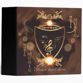 Music, Golden clef on a shield decorated Vinyl Binder