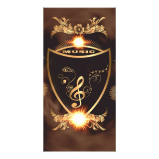 Music, Golden clef on a shield decorated Picture Card