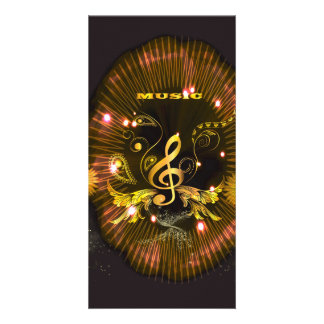 Music, golden clef photo cards