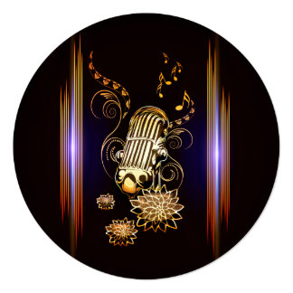 Music, golden microphone 5.25x5.25 square paper invitation card