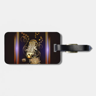 Music, golden microphone tags for bags