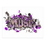 Music graffiti style sign purple gray post card