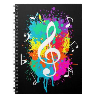 Music grunge spiral notebook