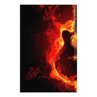 music guitar flames fire note dance Destiny'S Stationery