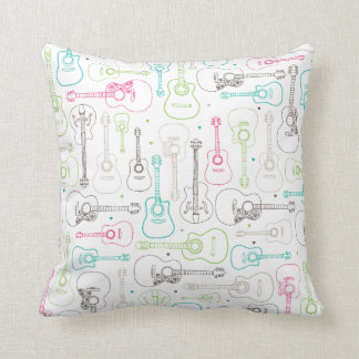 Music guitar illustration pattern throw pillow