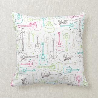 Music guitar illustration pattern throw pillows