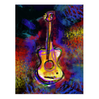music guitar instrument postcard