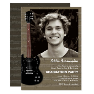 Music Guitar Photo Graduation Party Invitation at Zazzle