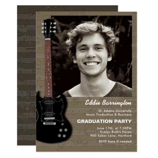 Music guitar photo graduation party invitation zazzle music guitar photo graduation party invitation filmwisefo Gallery